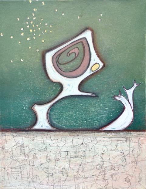 """Juniper 14""""x18"""" mixed media on canvas"""