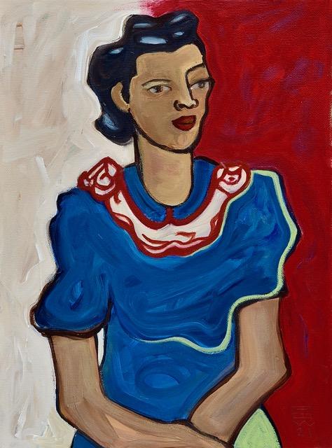 "Lace Collar 12""x16"" acrylic on canvas"