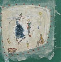 """Nougat 10""""x10"""" mixed media on canvas"""
