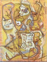 "White Rabbit 18""x24"" mixed media on canvas"