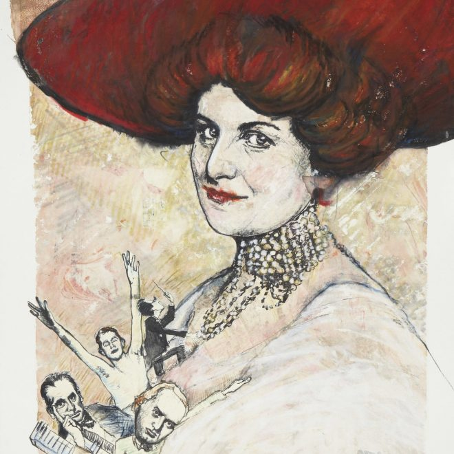 """Alma Mahler-Werfel from the series """"1913"""", monotype silkscreen on lithography, 22"""" x 15"""""""