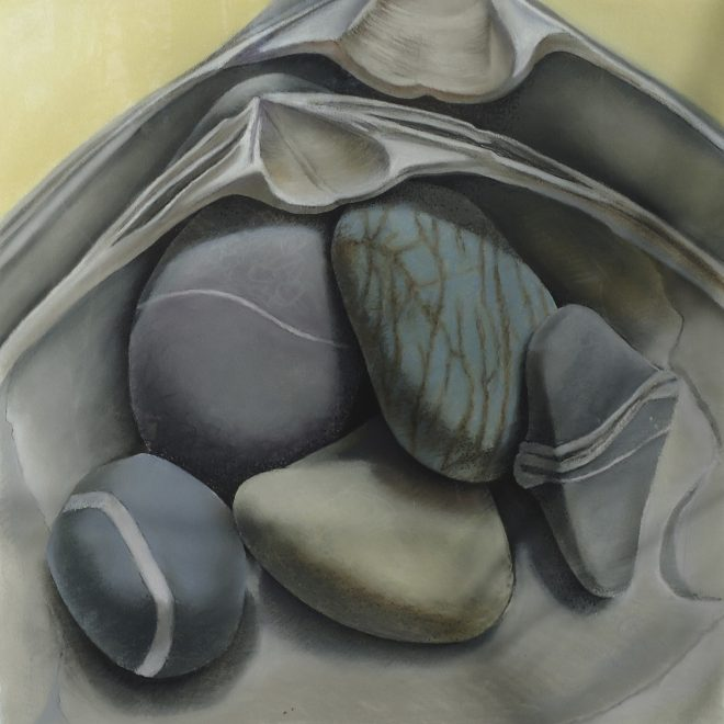 """Mutable Stones with Shells II"" chalk pastel & ink on Arches paper 22x22"""