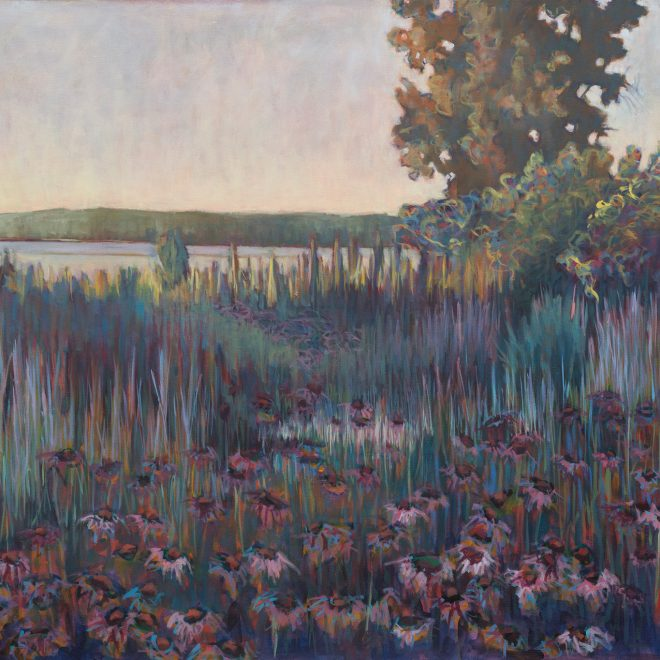 "DOOR COUNTY GARDEN OIL ON CANVAS 44"" x 58"""