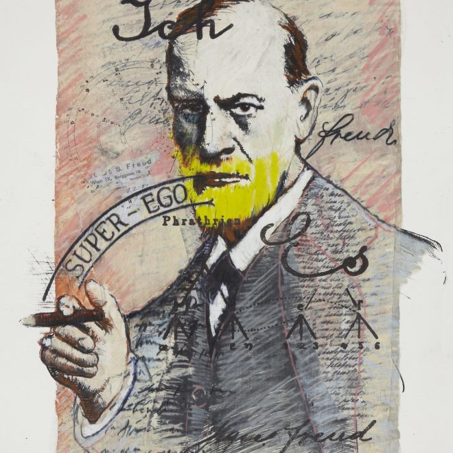 """Sigmund Freud from the series 1913, monotype silkscreen on lithography, 22"""" x 15"""""""