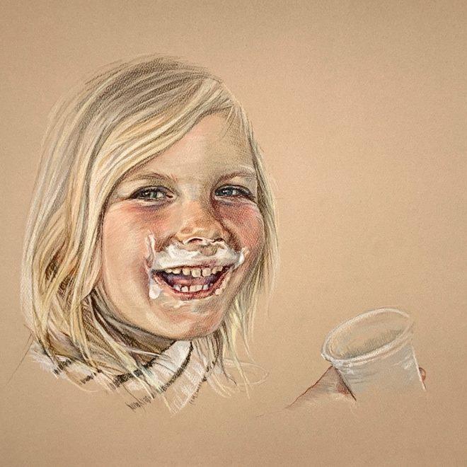 """Greta, colored pencil on paper, 11"""" x 17"""""""