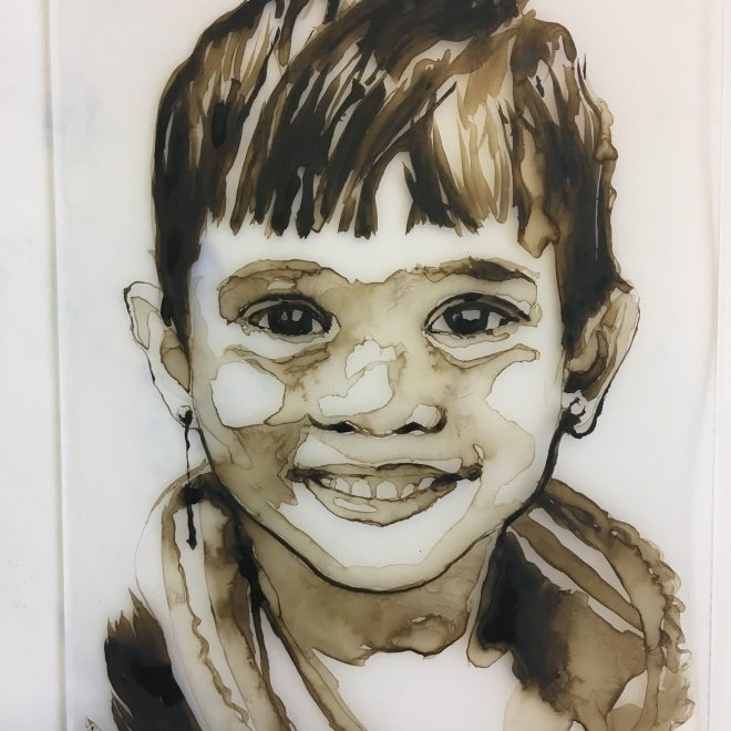 """One of many beautiful  Chicago Heartland Alliance refugee children from the series Stories of Hope, watercolor on acrylic plate 5"""" x 7"""""""