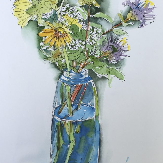 """Illinois Wildflowers, Blue Vase"" ink and watercolor 9""x12"""