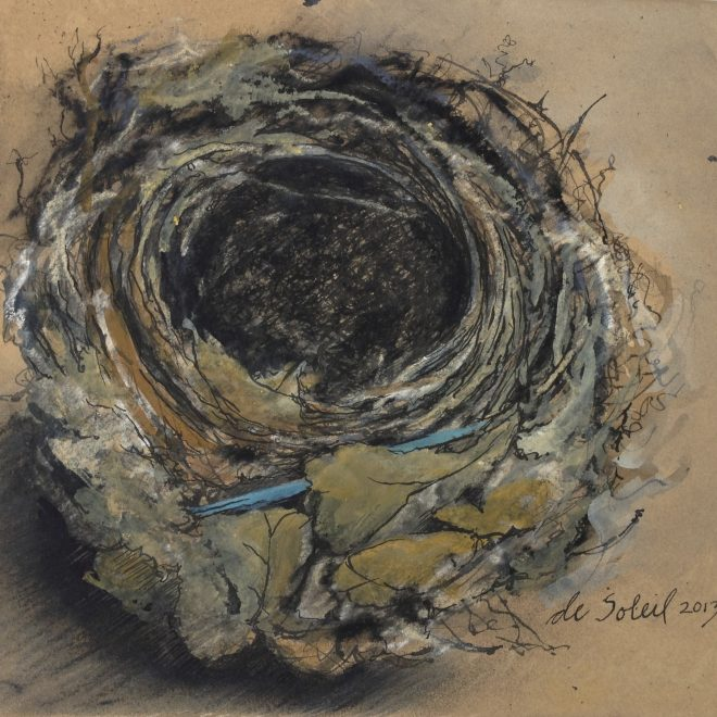 """Nest with Blue Plastic"" mixed media on walnut-dyed Arches paper 9x9"""