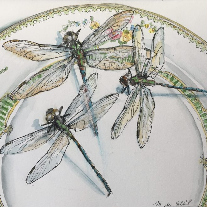 """3 Dragonflies, Green Plate"" mixed media on paper 9x6.5"""