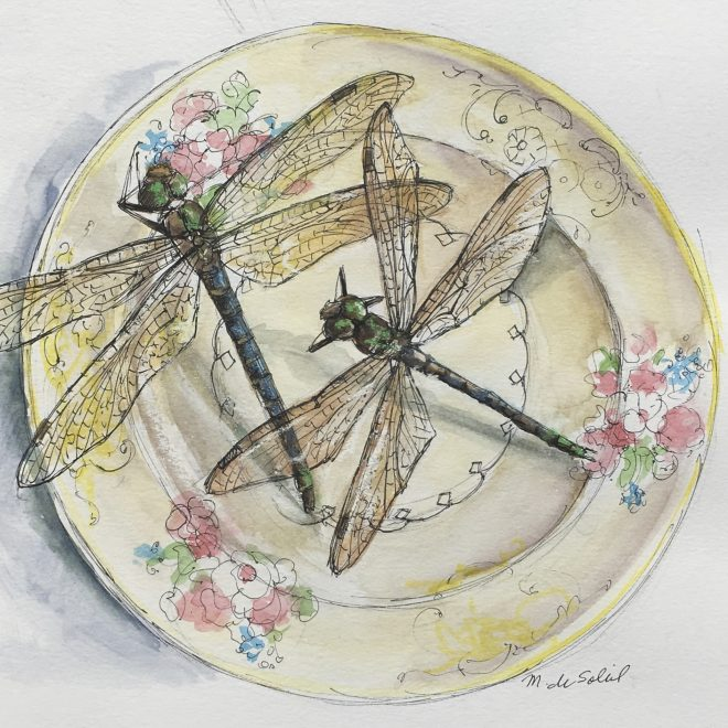 """2 Dragonflies, Yellow Plate"" mixed media on paper 8.5x 8.5"""