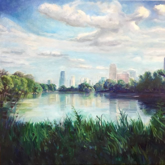 """North Pond, Lincoln Park, oil on canvas 16"""" x 16"""""""