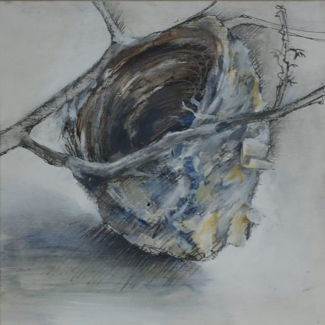 """Nest I"" mixed media on panel 9x9"""