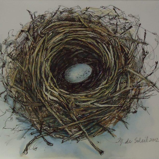 """Nest with Blue Egg"" mixed media on paper 9x9"""