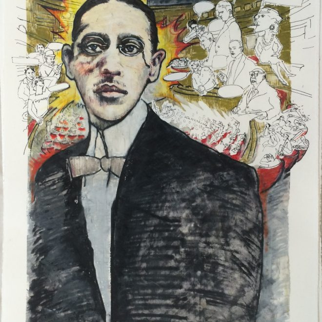 """Igor Stravinsky from the series """"1913"""", monotype silkscreen on lithography, 22"""" x 15"""""""