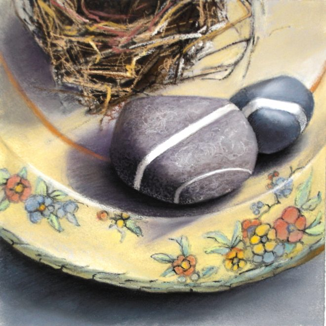 """Two Stones, One Nest"" chalk pastel and ink on Arches paper 12"" x 12"""