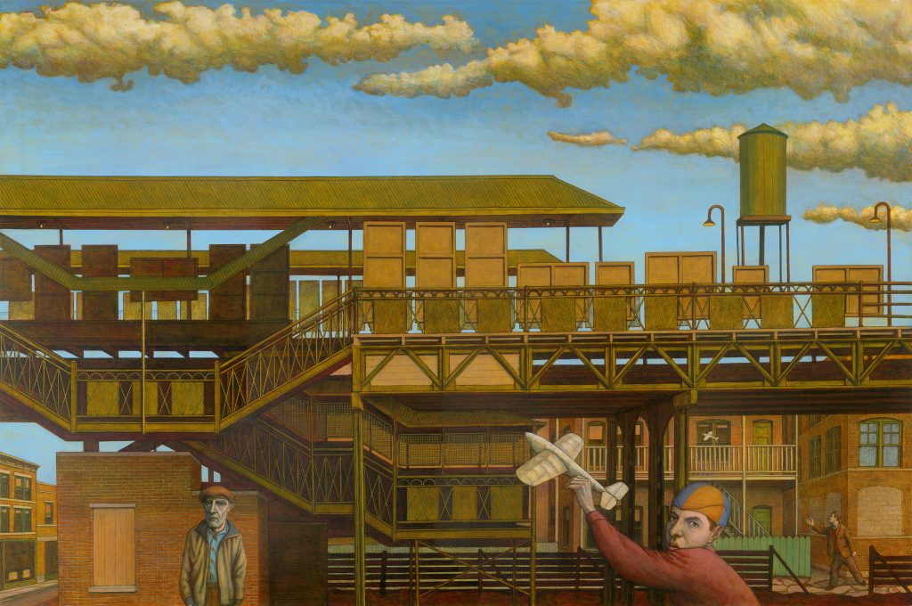 """L Station (Three Ages) (2002) 72""""w x 48""""h Mixed media on canvas"""
