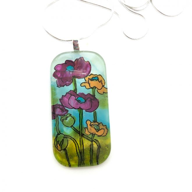 Poppies-Purple-Orange-Pendant