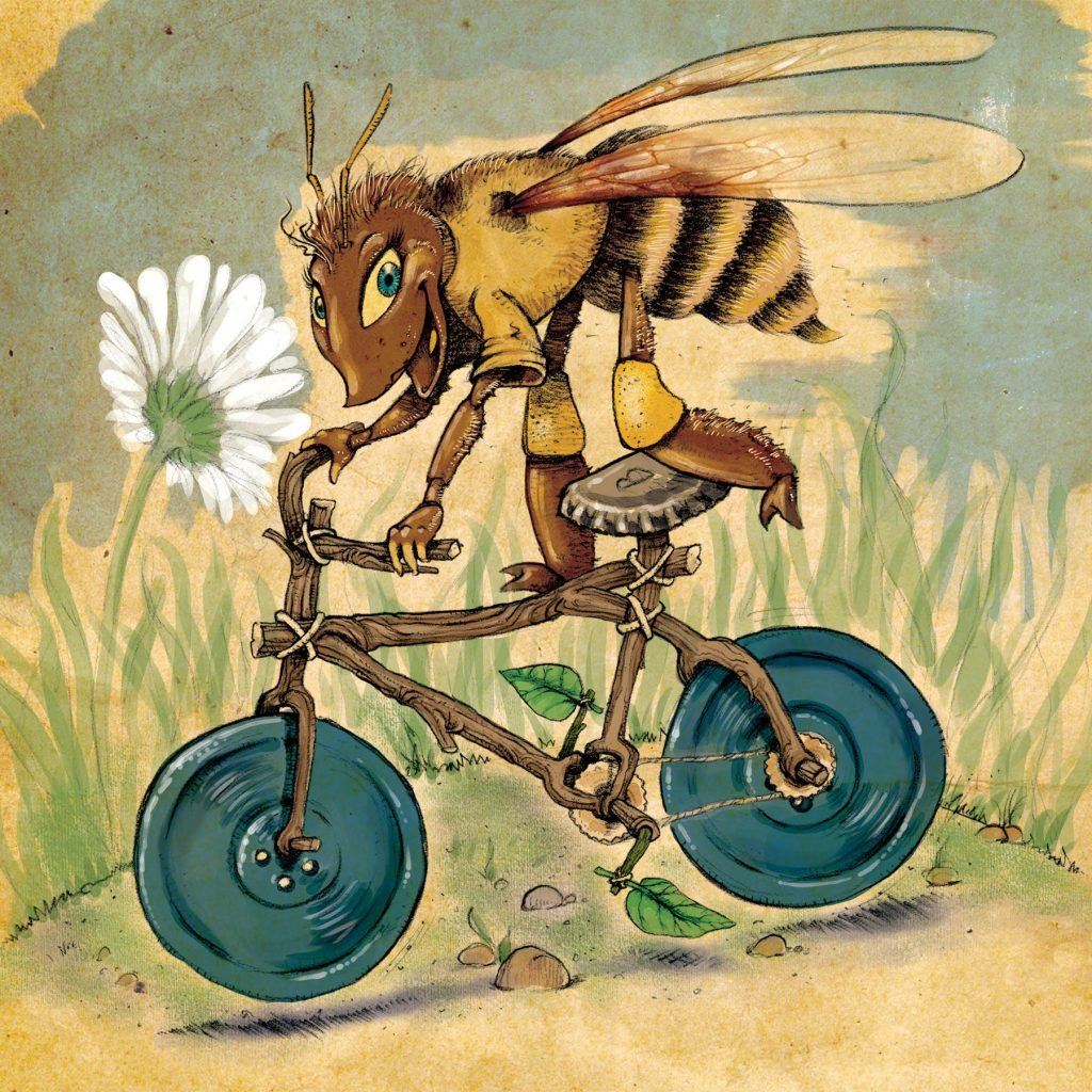 Illustration for homebrew brown ale brewed with local honey