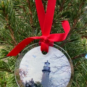 City Collection Evanston IL Engraved Black Cherry Wood Christmas Ornament Nestled Pines Original Evanston Illinois in Heart Ornament