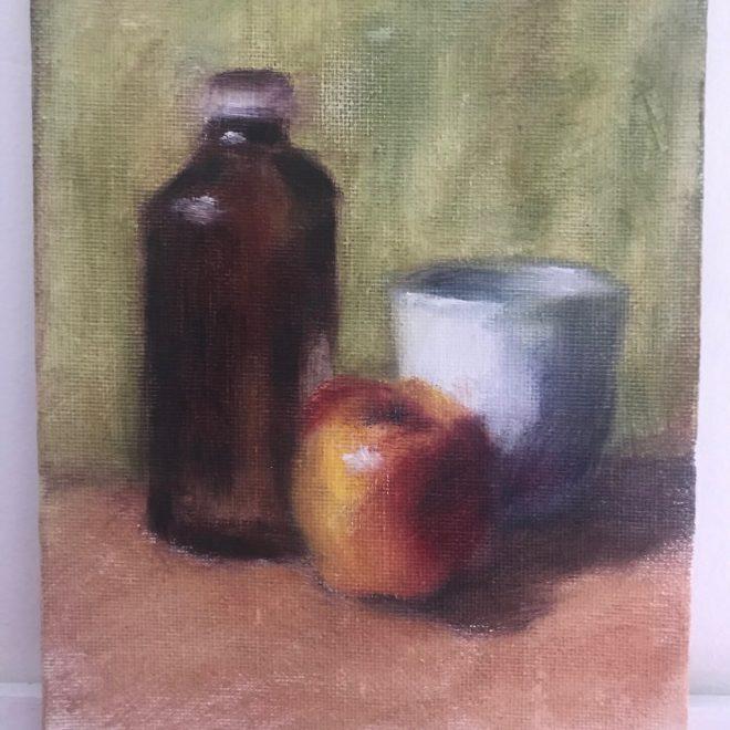 Still-life-brown-bottle-apple