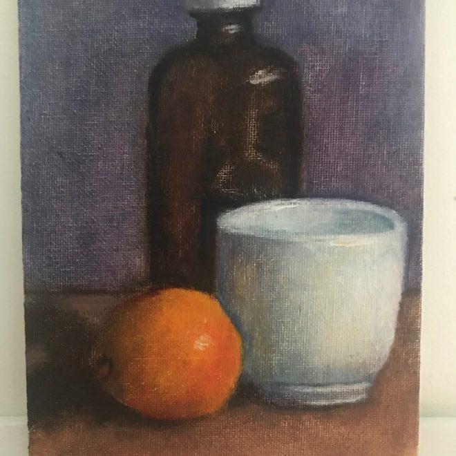 Still-life-brown-bottle-orange