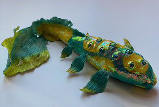 """Fish from the Void-2020-clay, paint,glitter- 8""""x3"""""""