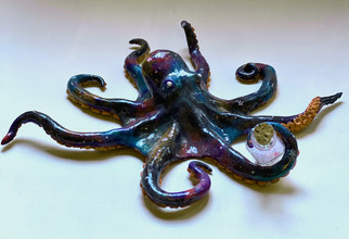 """Guardian of the Stars-2020-painted glazed polymer clay- 7""""x 2"""""""