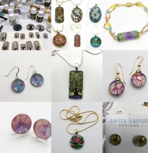 Sarita Kamat Designs<br>Multipassionate artist working with watercolors, alcohol inks, acrylics and handpainted , beaded and wire wrapped jewelry.
