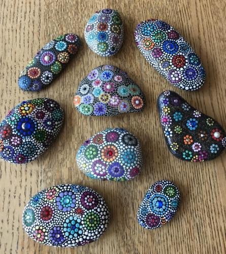 Toby Nathan-Silverstein<br>Painted stones, painted stones with crystals, dot art, and mosaic stones